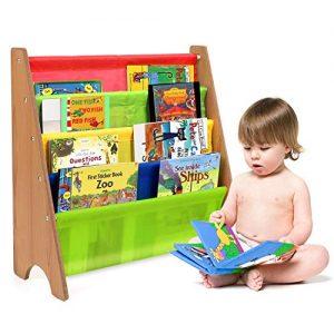 Homfa Bücherregal mit Stofftaschen
