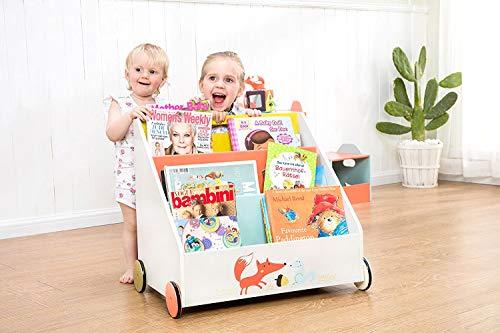 Labebe Kinder Bücherregal mit Rädern | beliebter Bestseller